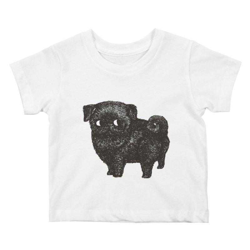 Black Pug  Kids Baby T-Shirt by huebucket's Artist Shop