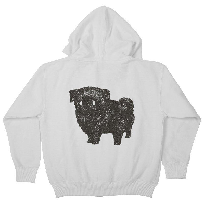 Black Pug  Kids Zip-Up Hoody by huebucket's Artist Shop