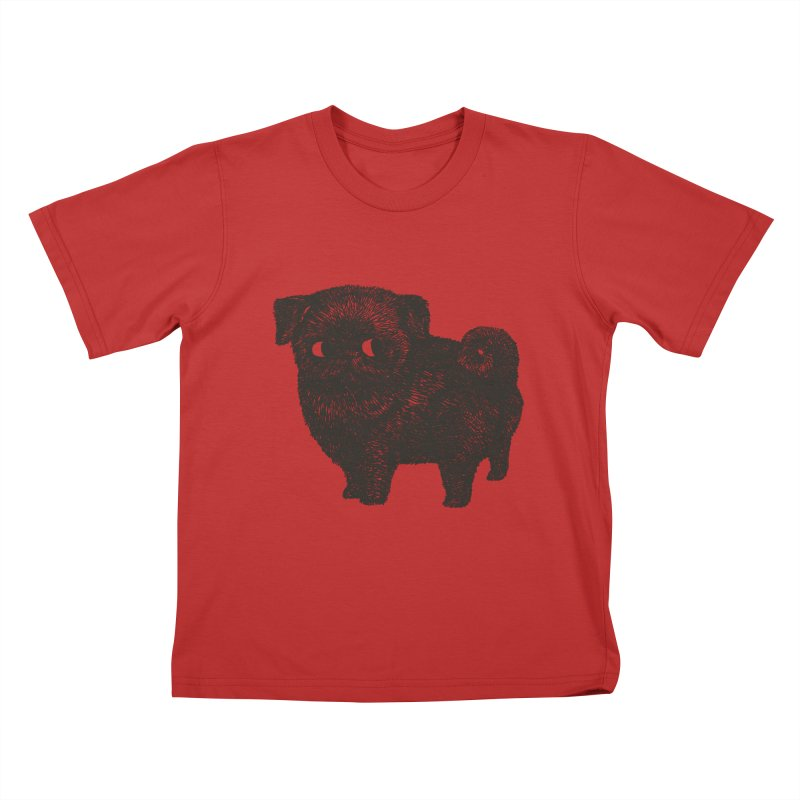 Black Pug  Kids T-shirt by huebucket's Artist Shop