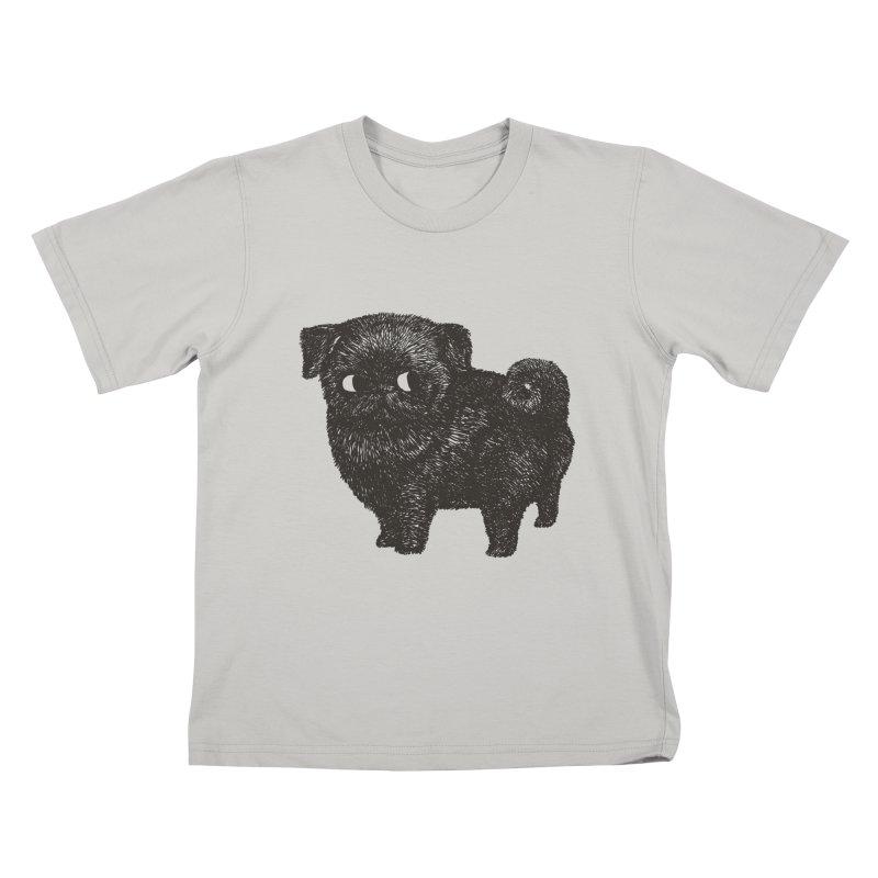 Black Pug  Kids T-Shirt by huebucket's Artist Shop