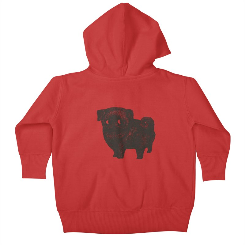 Black Pug  Kids Baby Zip-Up Hoody by huebucket's Artist Shop