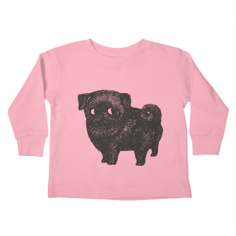 Black Pug  Kids Toddler Longsleeve T-Shirt by huebucket's Artist Shop