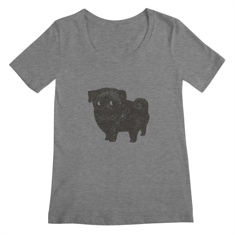 Black Pug  Women's Scoopneck by huebucket's Artist Shop