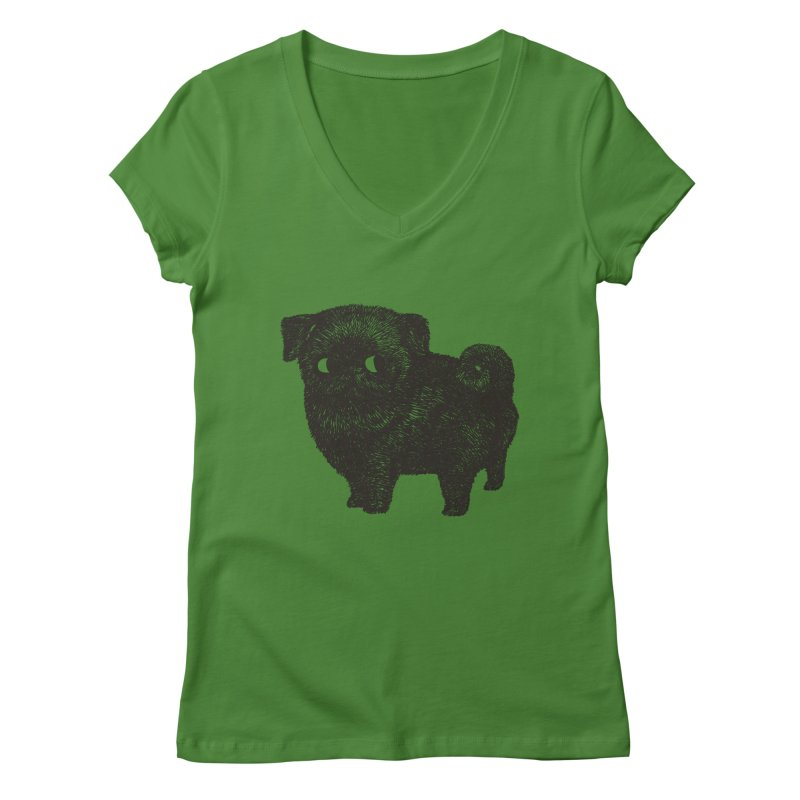 Black Pug  Women's V-Neck by huebucket's Artist Shop
