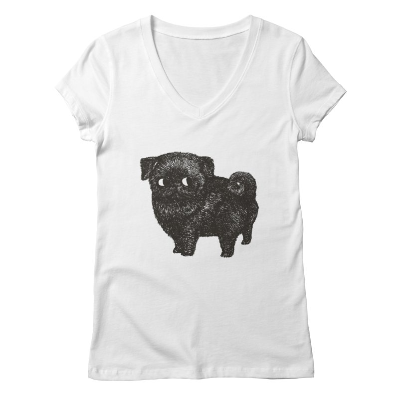 Black Pug  Women's V-Neck by huebucket's Artist Shop