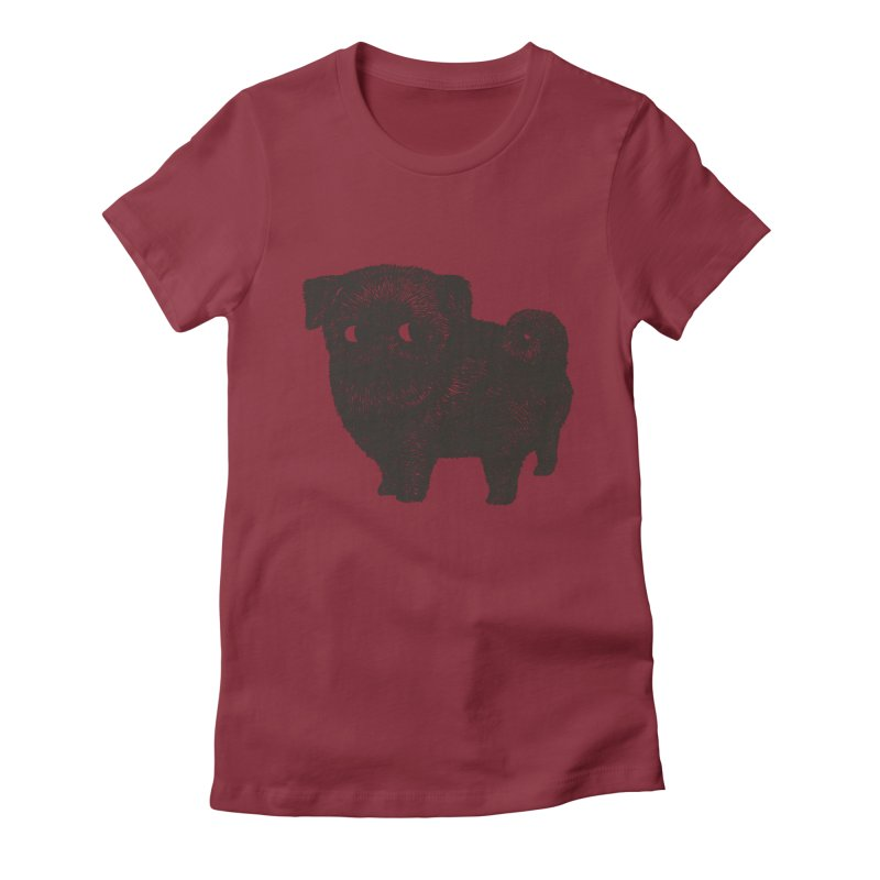 Black Pug  Women's Fitted T-Shirt by huebucket's Artist Shop