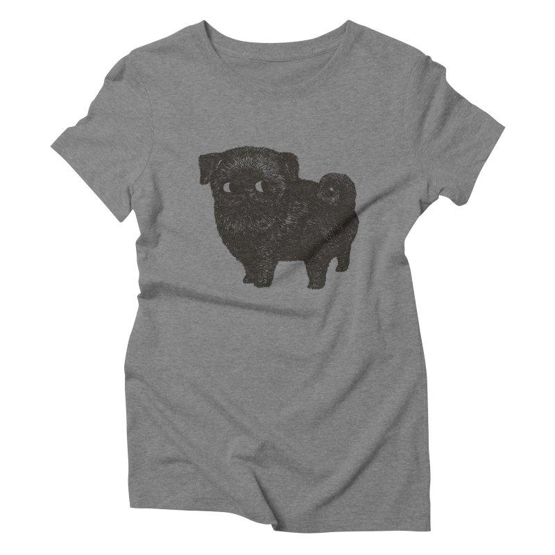 Black Pug  Women's Triblend T-Shirt by huebucket's Artist Shop