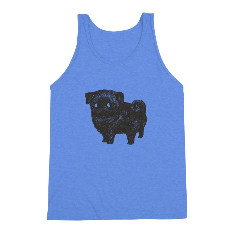 Black Pug  Men's Triblend Tank by huebucket's Artist Shop