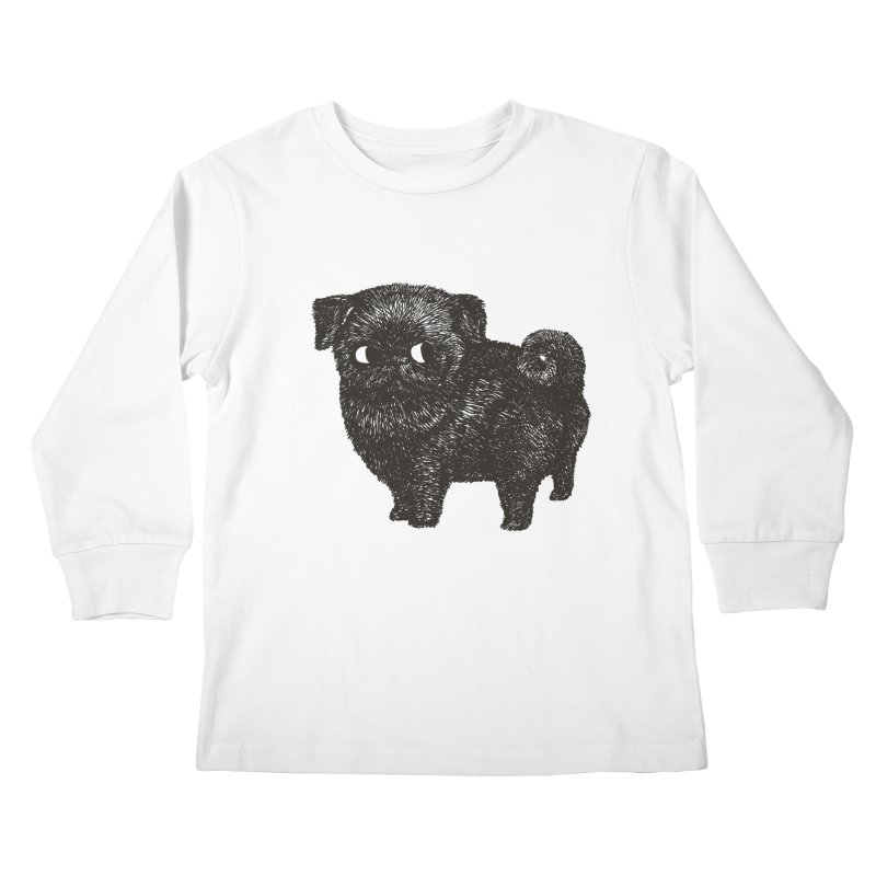 Black Pug  Kids Longsleeve T-Shirt by huebucket's Artist Shop