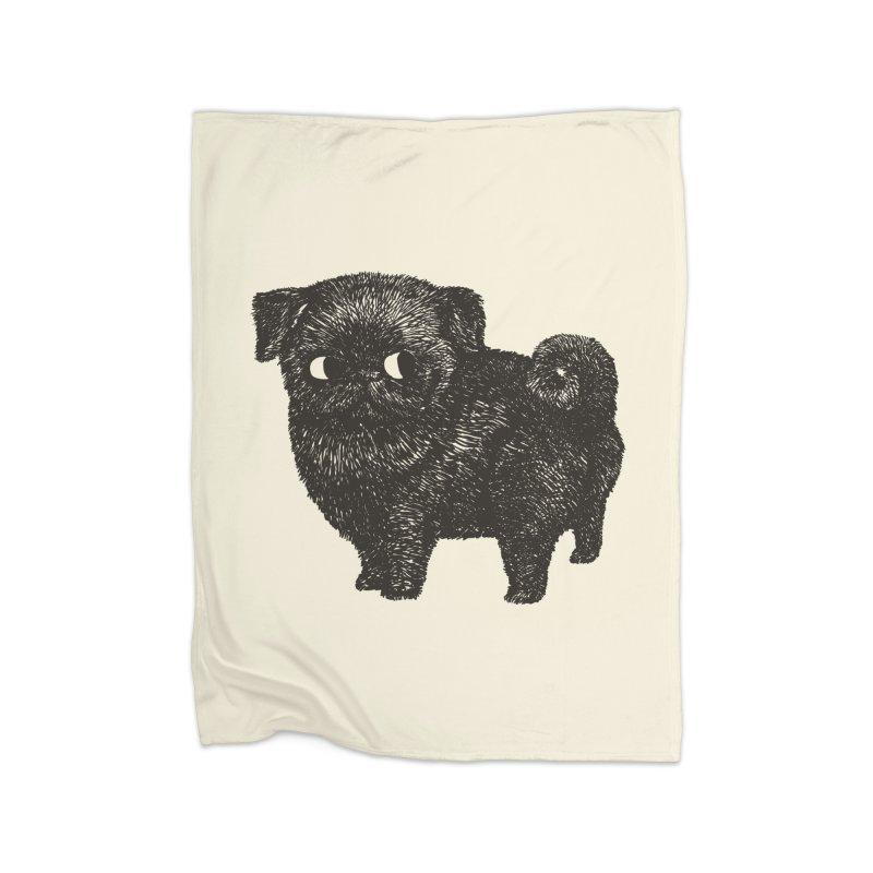 Black Pug  Home Blanket by huebucket's Artist Shop