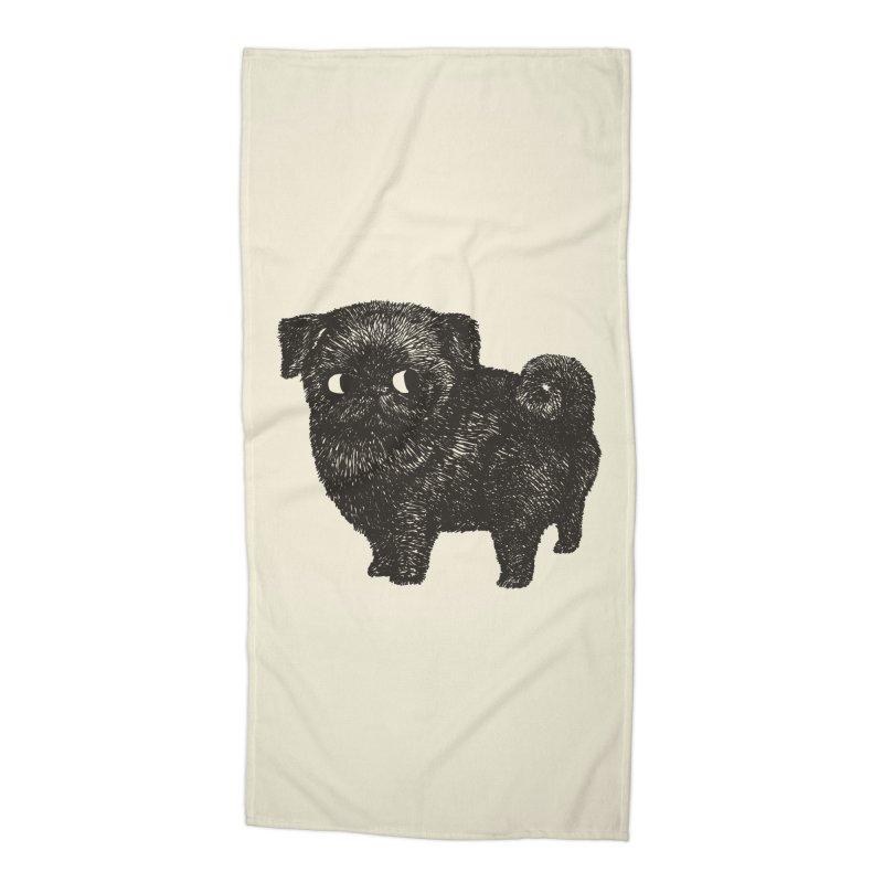 Black Pug  Accessories Beach Towel by huebucket's Artist Shop