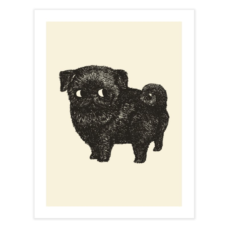 Black Pug  Home Fine Art Print by huebucket's Artist Shop