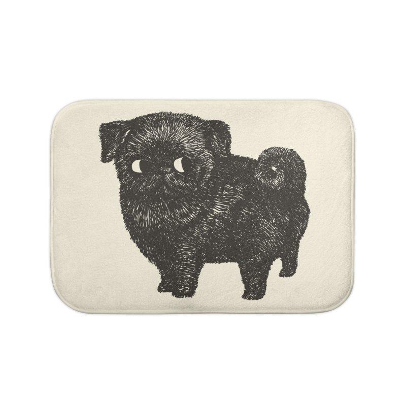 Black Pug  Home Bath Mat by huebucket's Artist Shop