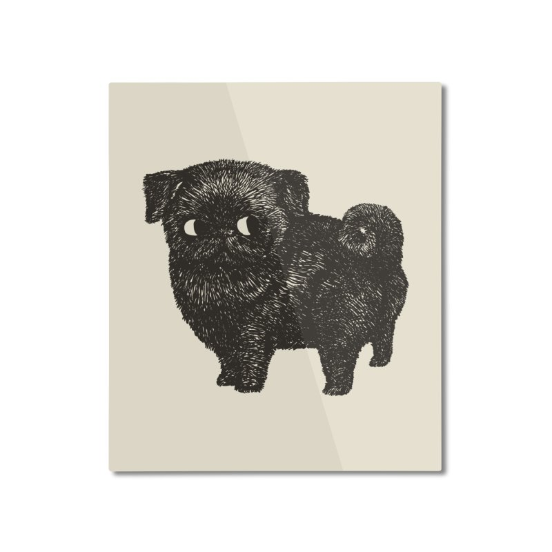 Black Pug  Home Mounted Aluminum Print by huebucket's Artist Shop