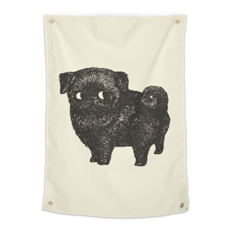 Black Pug  Home Tapestry by huebucket's Artist Shop