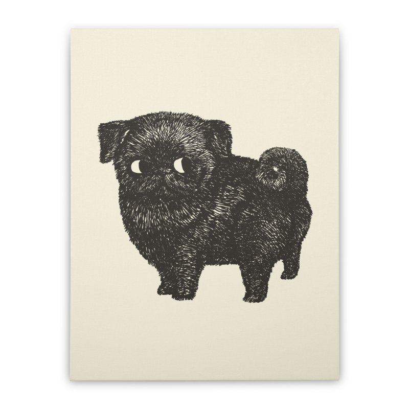 Black Pug  Home Stretched Canvas by huebucket's Artist Shop
