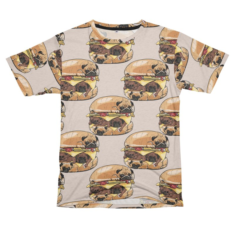Pugs Burger Women's Unisex French Terry T-Shirt Cut & Sew by huebucket's Artist Shop