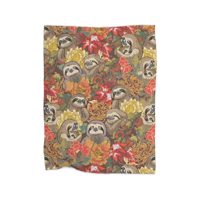Because Sloths Autumn Home Blanket by huebucket's Artist Shop