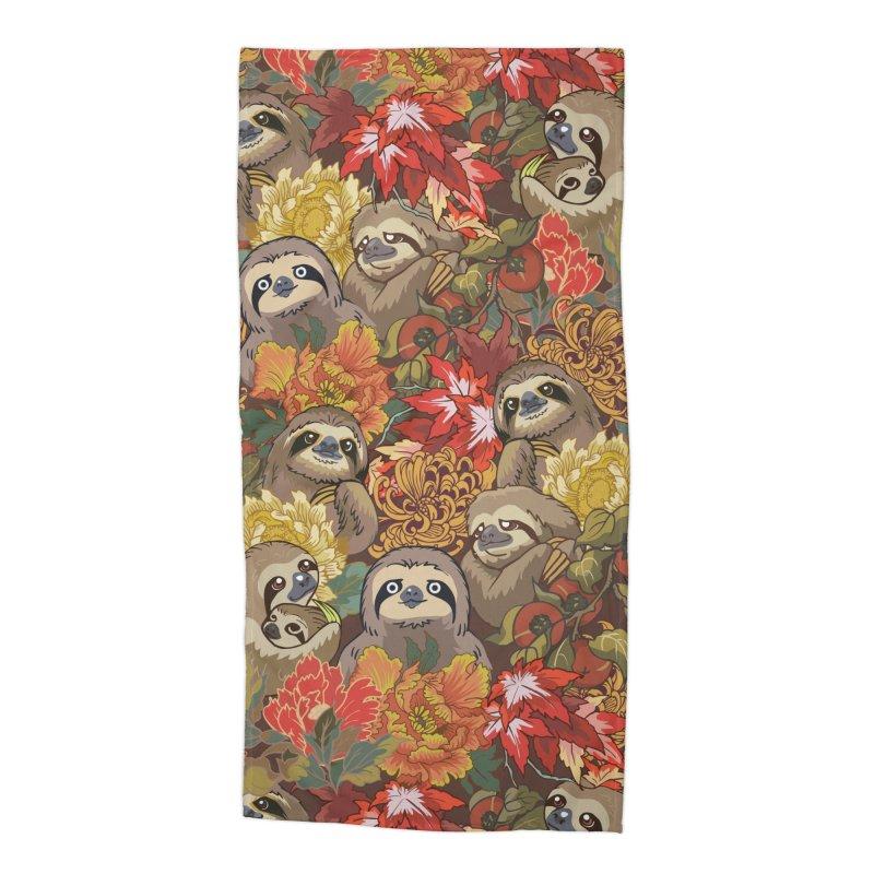 Because Sloths Autumn Accessories Beach Towel by huebucket's Artist Shop
