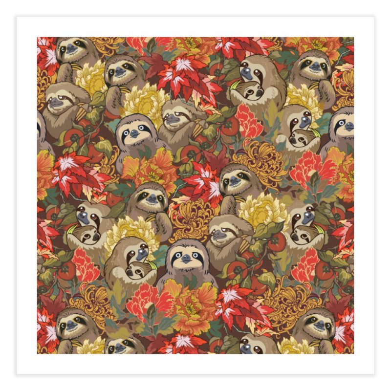 Because Sloths Autumn Home Fine Art Print by huebucket's Artist Shop