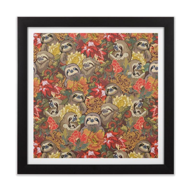 Because Sloths Autumn Home Framed Fine Art Print by huebucket's Artist Shop
