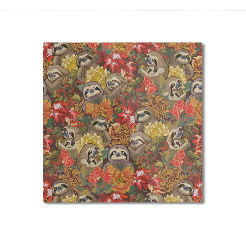 Because Sloths Autumn Home Mounted Aluminum Print by huebucket's Artist Shop