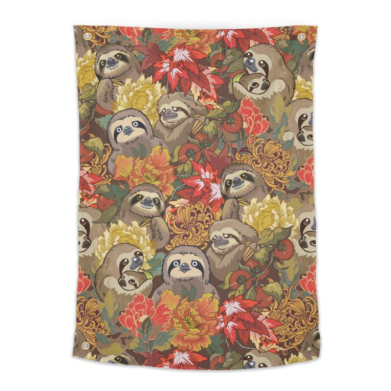 Because Sloths Autumn Home Tapestry by huebucket's Artist Shop