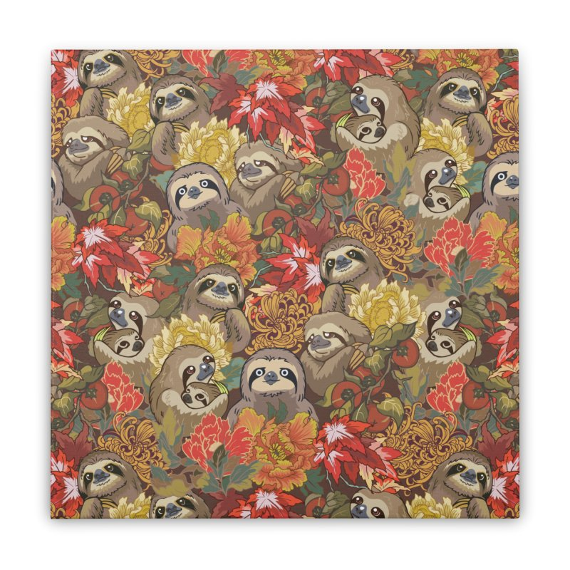 Because Sloths Autumn Home Stretched Canvas by huebucket's Artist Shop