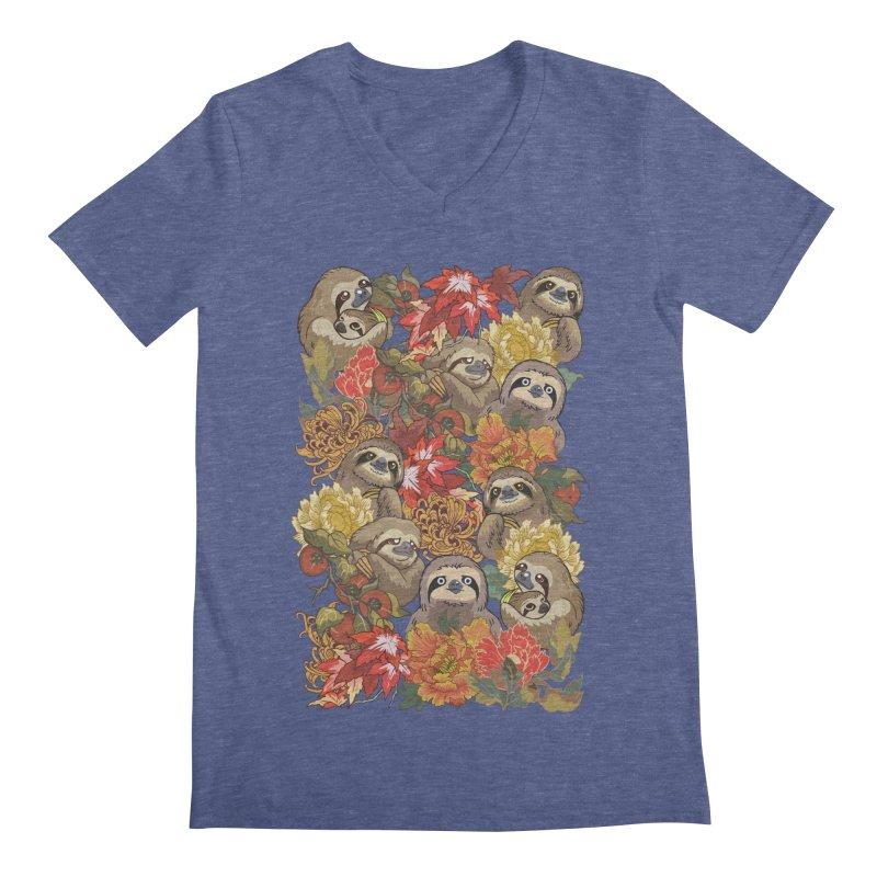 Because Sloths Autumn Men's V-Neck by huebucket's Artist Shop