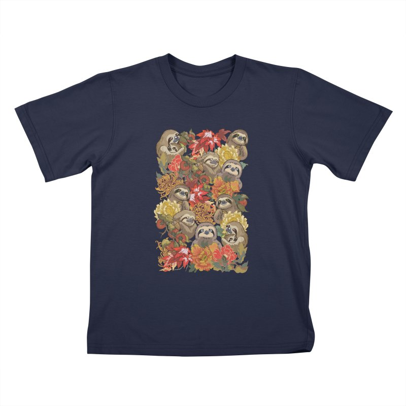 Because Sloths Autumn Kids T-shirt by huebucket's Artist Shop