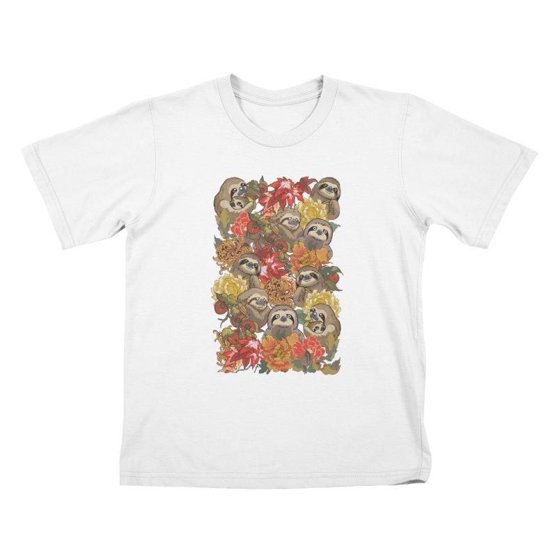 Because Sloths Autumn Kids T-Shirt by huebucket's Artist Shop