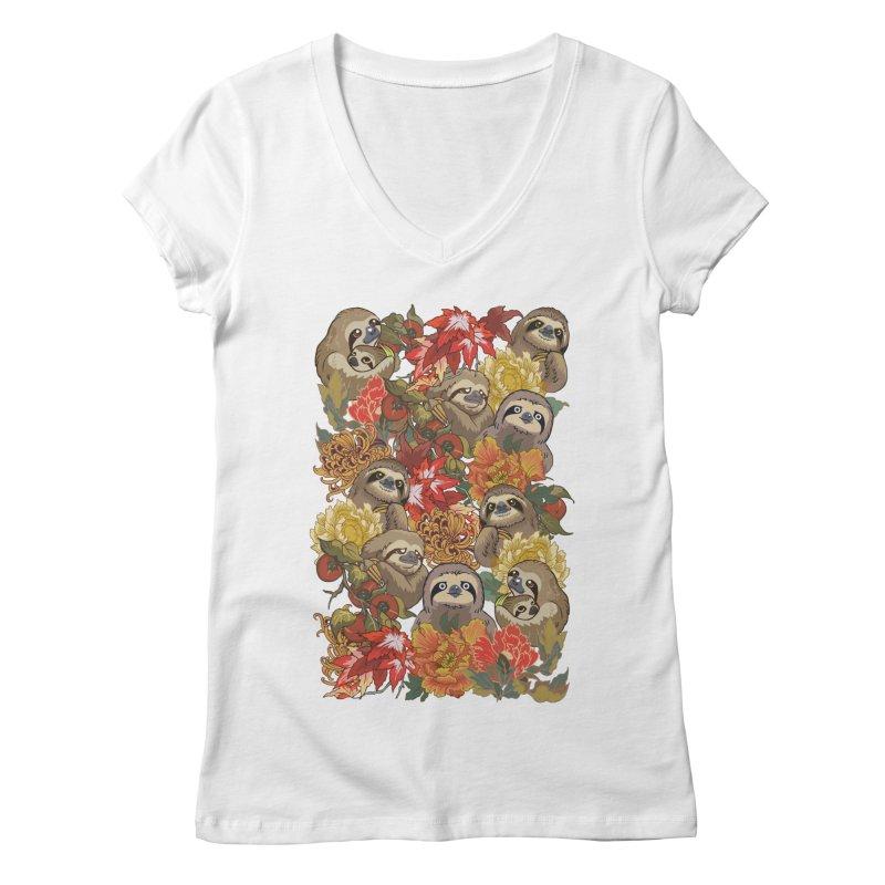 Because Sloths Autumn Women's V-Neck by huebucket's Artist Shop