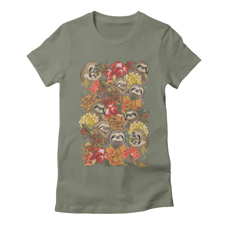 Because Sloths Autumn Women's Fitted T-Shirt by huebucket's Artist Shop
