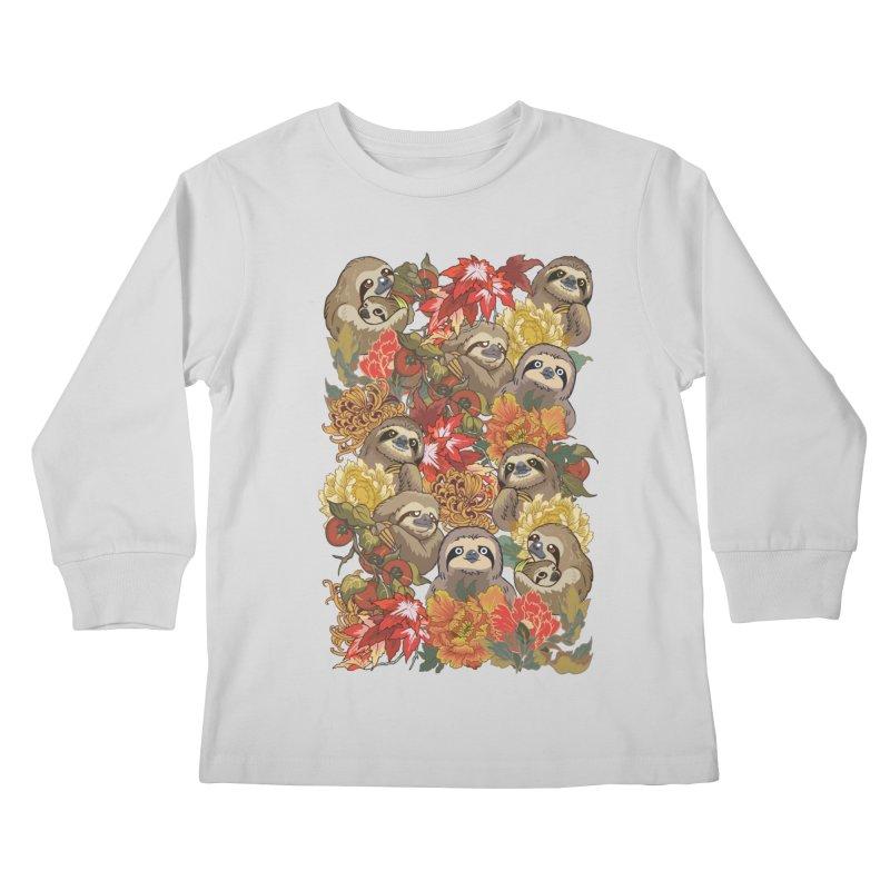 Because Sloths Autumn Kids Longsleeve T-Shirt by huebucket's Artist Shop