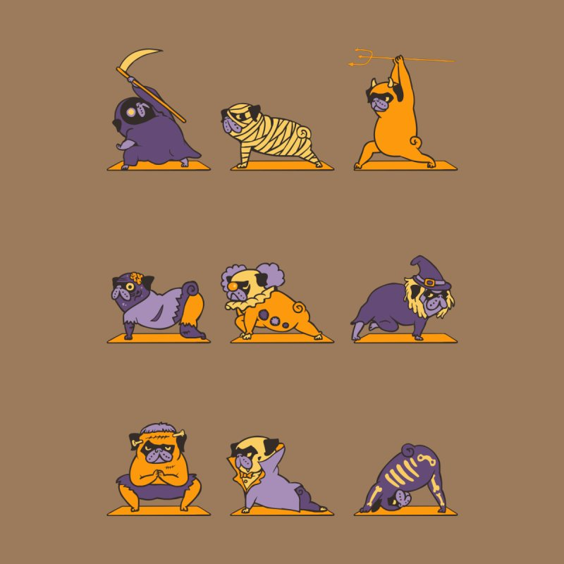 Pug Yoga Halloween Monsters by huebucket's Artist Shop