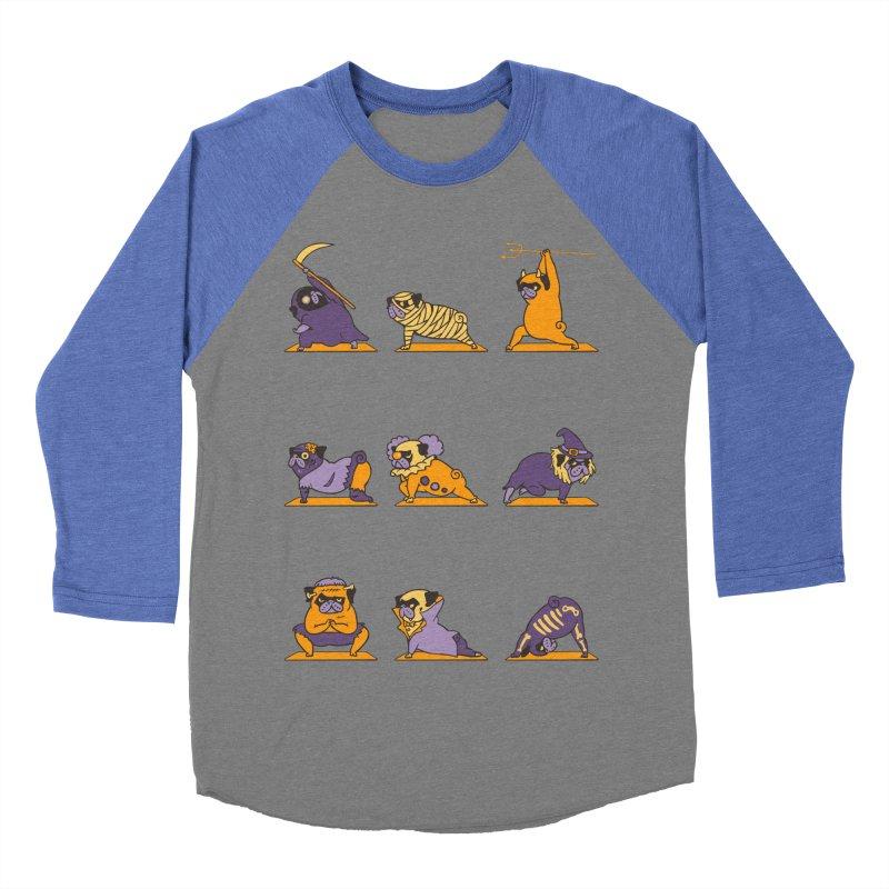 Pug Yoga Halloween Monsters Men's Baseball Triblend T-Shirt by huebucket's Artist Shop