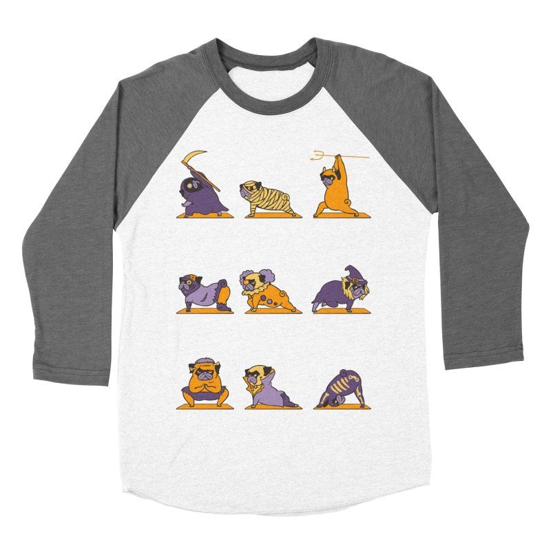 Pug Yoga Halloween Monsters Men's Baseball Triblend T-Shirt by huebucket's Artist Shop
