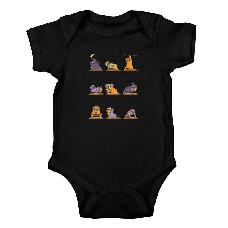 Pug Yoga Halloween Monsters Kids Baby Bodysuit by huebucket's Artist Shop