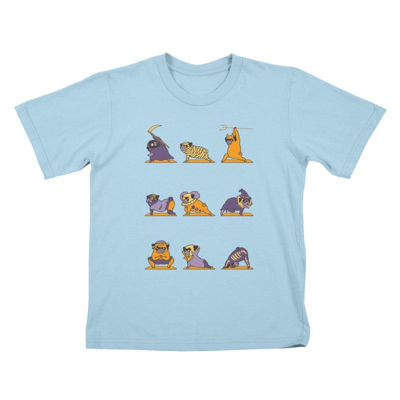Pug Yoga Halloween Monsters Kids T-Shirt by huebucket's Artist Shop