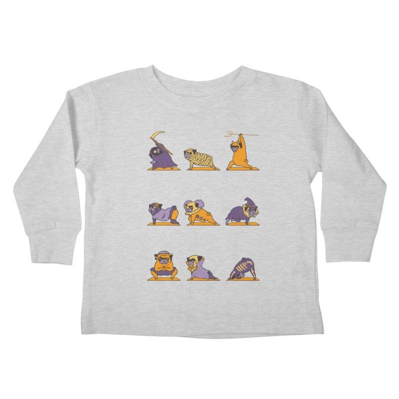 Pug Yoga Halloween Monsters Kids Toddler Longsleeve T-Shirt by huebucket's Artist Shop