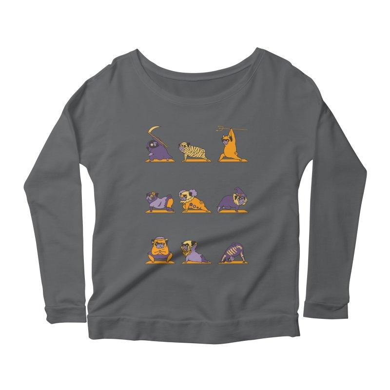 Pug Yoga Halloween Monsters Women's Longsleeve Scoopneck  by huebucket's Artist Shop