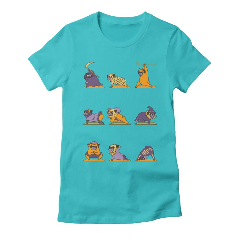Pug Yoga Halloween Monsters Women's Fitted T-Shirt by huebucket's Artist Shop