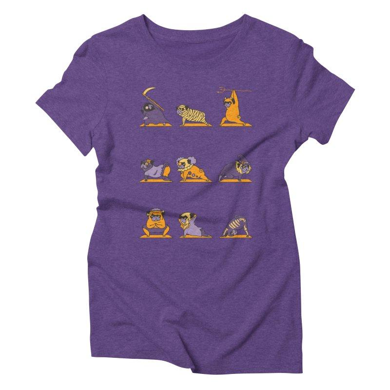 Pug Yoga Halloween Monsters Women's Triblend T-shirt by huebucket's Artist Shop