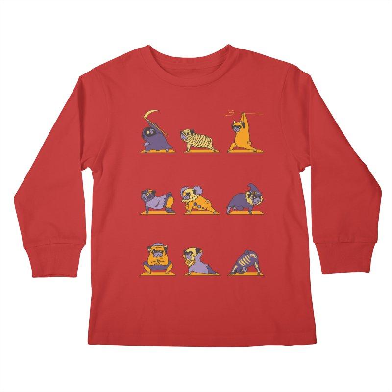 Pug Yoga Halloween Monsters Kids Longsleeve T-Shirt by huebucket's Artist Shop