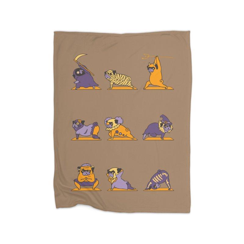 Pug Yoga Halloween Monsters Home Blanket by huebucket's Artist Shop