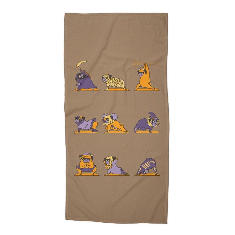 Pug Yoga Halloween Monsters Accessories Beach Towel by huebucket's Artist Shop