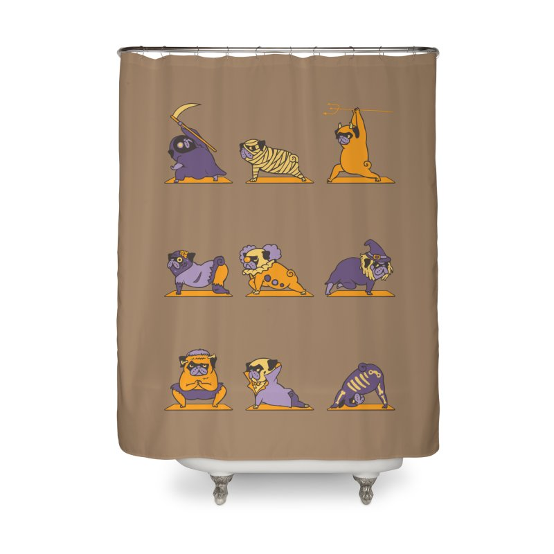 Pug Yoga Halloween Monsters Home Shower Curtain by huebucket's Artist Shop
