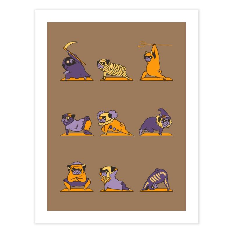 Pug Yoga Halloween Monsters Home Fine Art Print by huebucket's Artist Shop