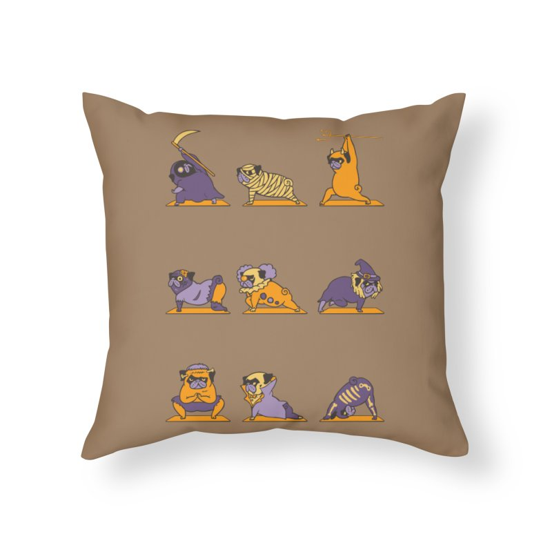 Pug Yoga Halloween Monsters Home Throw Pillow by huebucket's Artist Shop