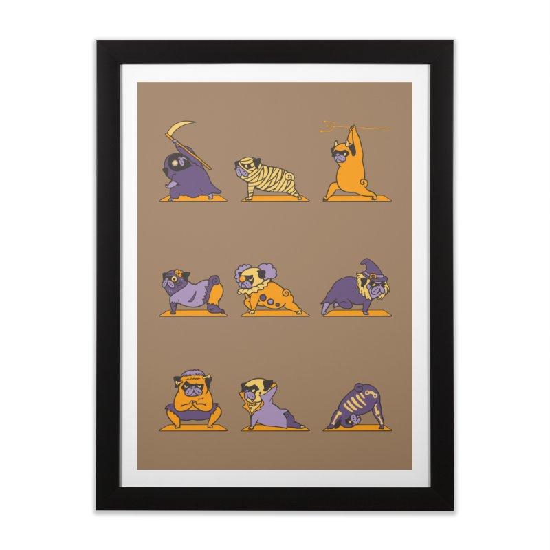 Pug Yoga Halloween Monsters Home Framed Fine Art Print by huebucket's Artist Shop